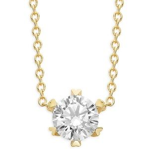 Lafonn gp silver faux diamond solitaire necklace